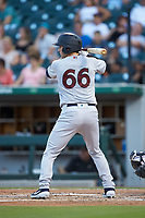 Kyle Higashioka (66) of the Scranton/Wilkes-Barre RailRiders at bat against the Charlotte Knights at BB&T BallPark on August 14, 2019 in Charlotte, North Carolina. The Knights defeated the RailRiders 13-12 in ten innings. (Brian Westerholt/Four Seam Images)