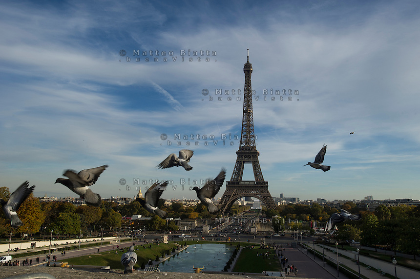 Parigi nella foto Torre Eiffel geografico Parigi 03/11/2016 foto Matteo Biatta<br /> <br /> Paris in the picture Eiffel tower geographic Paris 03/11/2016 photo by Matteo Biatta