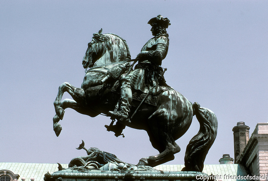 Vienna: Equestrian Statue of Prince Eugene of Savoy. Heldenplatz, (Heroes' Place), Imperial Palace. Photo '87.