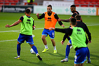 Blackpool's Jay Spearing and Curtis Tilt take part in a drill before the match<br /> <br /> Photographer Alex Dodd/CameraSport<br /> <br /> The EFL Sky Bet League One - Doncaster Rovers v Blackpool - Tuesday September 17th 2019 - Keepmoat Stadium - Doncaster<br /> <br /> World Copyright © 2019 CameraSport. All rights reserved. 43 Linden Ave. Countesthorpe. Leicester. England. LE8 5PG - Tel: +44 (0) 116 277 4147 - admin@camerasport.com - www.camerasport.com