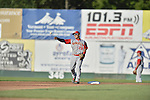 18 August 2012: Brooklyn Cyclones infielder Phillip Evans in action against the Vermont Lake Monsters at Centennial Field in Burlington, Vermont. The Lake Monsters defeated the Cyclones 4-1 in NY Penn League action. Mandatory Credit: Ed Wolfstein Photo