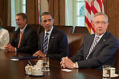 United States President Barack Obama, center, meets with Congressional leaders from left to right: Speaker of the U.S. House John Boehner (Republican of Ohio), President Obama, U.S. Senate Majority Leader Harry Reid (Democrat of Nevada) in the Cabinet Room of the White House in Washington, D.C., U.S., on Thursday, July 7, 2011. The Obama administration and congressional leaders are seeking an accord to lower the deficit during the next 10 to 12 years to pave the way for a vote to increase the $14.3 trillion debt limit, and the tax issue looms as the major obstacle to a deal. Photographer: Andrew Harrer/Bloomberg *** Local Caption *** Barack Obama; John Boehner; Harry Reid.Credit: Andrew Harrer / Pool via CNP