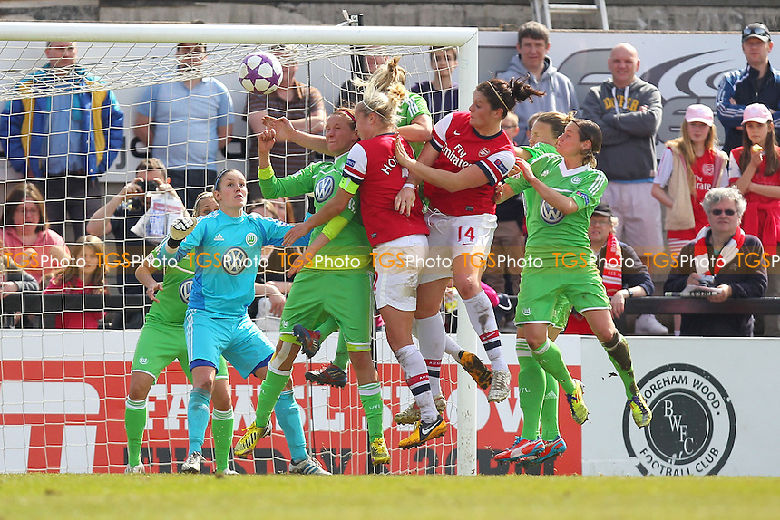 Arsenal exert pressure on the Wolfsburg defence as they seek an equaliser - Arsenal Ladies vs VfL Wolfsburg - UEFA Womens Champions League Semi-Final 1st Leg Football at Boreham Wood FC - 14/04/13 - MANDATORY CREDIT: Philip Sharkey/TGSPHOTO - Self billing applies where appropriate - 0845 094 6026 - contact@tgsphoto.co.uk - NO UNPAID USE.