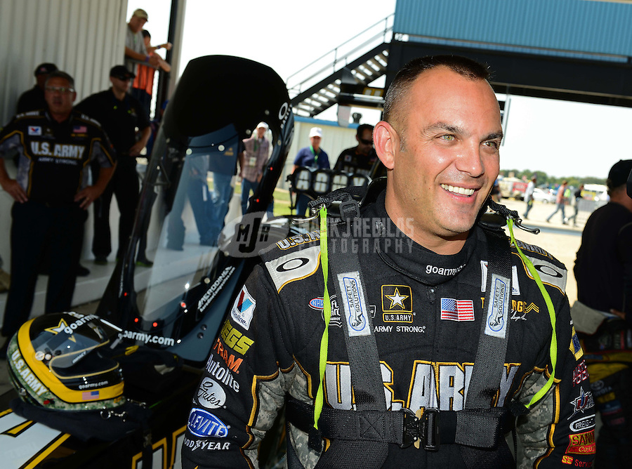 Sept. 22, 2012; Ennis, TX, USA: NHRA top fuel dragster driver Tony Schumacher during qualifying for the Fall Nationals at the Texas Motorplex. Mandatory Credit: Mark J. Rebilas-