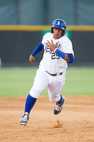 Meibrys Viloria (29) of the Burlington Royals hustles towards third base against the Greeneville Astros at Burlington Athletic Park on June 29, 2014 in Burlington, North Carolina.  The Royals defeated the Astros 11-0. (Brian Westerholt/Four Seam Images)