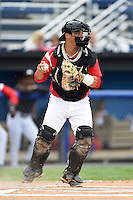 Batavia Muckdogs catcher Chris Hoo (5) throws down to second during the first game of a doubleheader against the Connecticut Tigers on July 20, 2014 at Dwyer Stadium in Batavia, New York.  Connecticut defeated Batavia 5-3.  (Mike Janes/Four Seam Images)