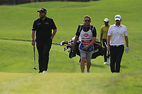 Shane Lowry (IRL) and Bernd Wiesberger (AUT) on the 18th green during the 2nd round of the WGC HSBC Champions, Sheshan Golf Club, Shanghai, China. 01/11/2019.<br /> Picture Fran Caffrey / Golffile.ie<br /> <br /> All photo usage must carry mandatory copyright credit (© Golffile   Fran Caffrey)