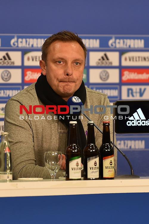02.03.2016, VELTINS Arena Gelsenkirchen, GER, 1.FBL.  FC Schalke 04 Vs. Hamburger SV , <br /> im Bild / picture shows: <br /> Pressekonferenz auf Schalke Andr&eacute; Breitenreiter (Trainer FC Schalke 04) fr&ouml;hlich gestimmt nach dem Sieg &uuml;ber Hamburg <br /> <br /> <br /> Foto &copy; nordphoto / Meuter