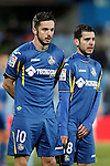 Getafe's Pablo Sarabia (l) and Victor Rodriguez during La Liga match. February 27,2016. (ALTERPHOTOS/Acero)