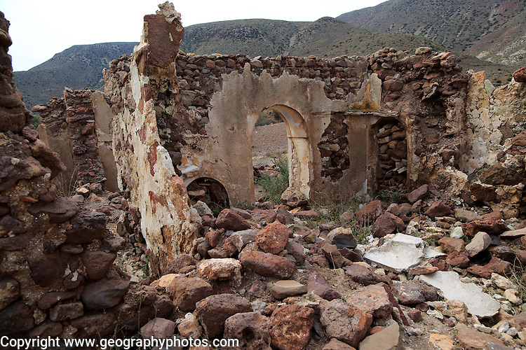 Abandoned farmhouse building near Presillas Bajas, Cabo de Gata national park, Almeria, Spain