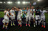 Pictured: Swansea players celebrate their win Monday 15 May 2017<br />