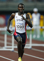 Kerron Clement ran 49.07 in the 1st. round of the 400m hurdles on Saturday, August 25, 2007 at the 11th. IAAF World Championships held in Osaka, Japan. Photo by Errol Anderson,The Sporting, Image.