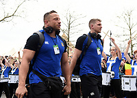 Ruaridh McConnochie and the rest of the Bath Rugby team arrive at Twickenham. Gallagher Premiership match, The Clash, between Bath Rugby and Bristol Rugby on April 6, 2019 at Twickenham Stadium in London, England. Photo by: Patrick Khachfe / Onside Images