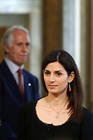 Mayor of Rome Virginia Raggi and President of CONI Giovanni Malago'.<br /> Rome April 11th 2019. Palazzo Chigi. Presentation of the 76° edition of International BNL of Italy tennis tournament.<br /> photo di Samantha Zucchi/Insidefoto