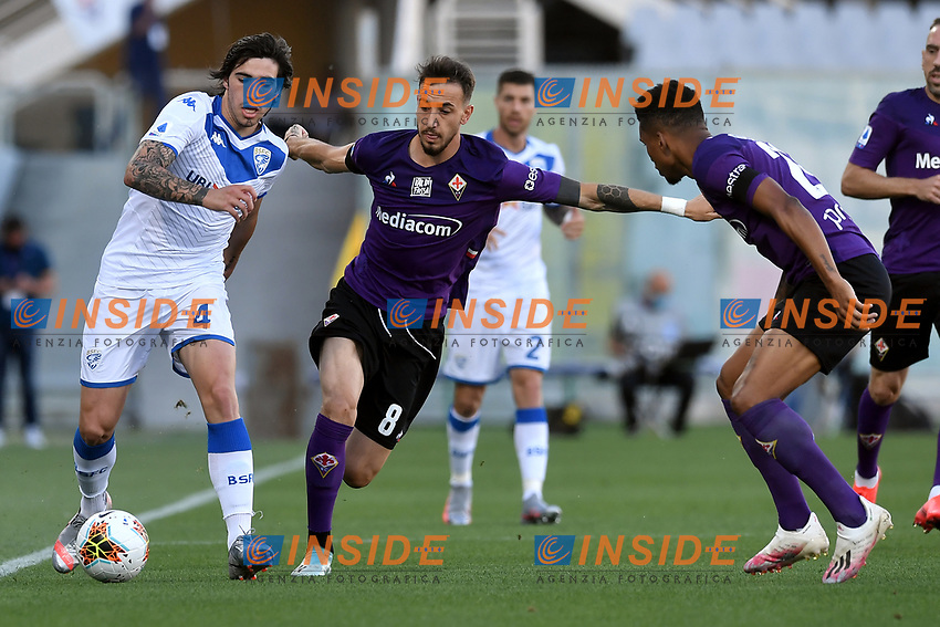 Sandro Tonali of Brescia Calcio and Gaetano Castrovilli of Fiorentina compete for the ball during the Serie A football match between ACF Fiorentina and Brescia Calcio at Artemio Franchi stadium in Florence ( Italy ), June 22th, 2020. Play resumes behind closed doors following the outbreak of the coronavirus disease. <br /> Photo Antonietta Baldassarre / Insidefoto