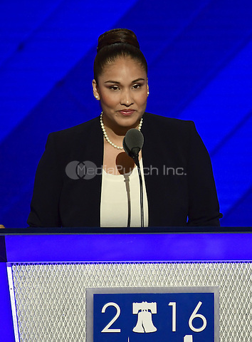 Na'ilah Amaru of New York, a veteran of the Iraq War, seconds the nomination of former US Secretary of State Hillary Clinton for President of the United States during the second session of the 2016 Democratic National Convention at the Wells Fargo Center in Philadelphia, Pennsylvania on Tuesday, July 26, 2016.<br /> Credit: Ron Sachs / CNP/MediaPunch<br /> (RESTRICTION: NO New York or New Jersey Newspapers or newspapers within a 75 mile radius of New York City)