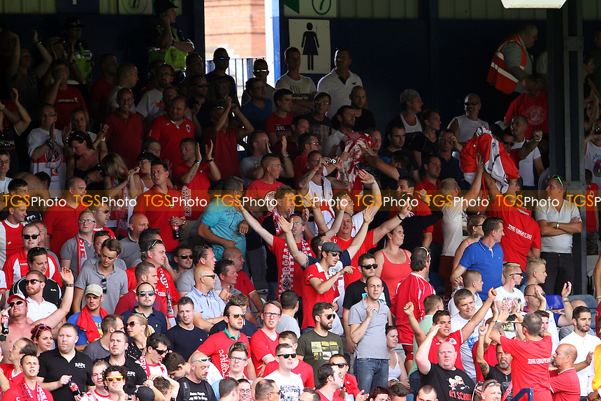 Antwerp fans in full voice - Luton Town vs Royal Antwerp - Pre-Season Friendly Football Match at Kenilworth Road, Luton, Bedfordshire - 26/07/14 - MANDATORY CREDIT: Mick Kearns/TGSPHOTO - Self billing applies where appropriate - contact@tgsphoto.co.uk - NO UNPAID USE