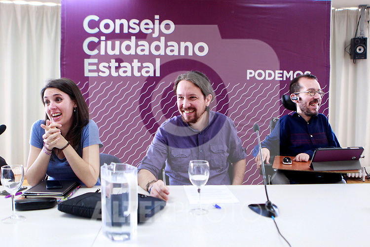Irene Montero, Speaker in Congress (l), Pablo Iglesias, General Secretary (c) and Pablo Echenique, Secretary of Organization, during the Consejo Ciudadano Estatal - State Citizen Council of Podemos. (ALTERPHOTOS/Acero)
