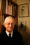 Michael Edwards, professor of English and French literature in Paris. He is a candidate for the Academie Francaise, February 2008. If he wins this, he will the first ever English person to hold this title.///Portrait of Professor Michael Edwards with a portrait drawing of himself by the artist Raymond Mason