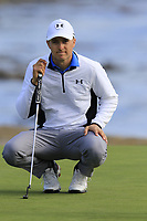 Jordan Spieth (USA) on the 18th green during Saturday's Round 3 of the 2018 AT&amp;T Pebble Beach Pro-Am, held over 3 courses Pebble Beach, Spyglass Hill and Monterey, California, USA. 10th February 2018.<br /> Picture: Eoin Clarke | Golffile<br /> <br /> <br /> All photos usage must carry mandatory copyright credit (&copy; Golffile | Eoin Clarke)
