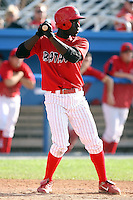 August 3rd 2008:  Third baseman Jermaine Curtis of the Batavia Muckdogs, Class-A affiliate of the St. Louis Cardinals, during a game at Dwyer Stadium in Batavia, NY.  Photo by:  Mike Janes/Four Seam Images