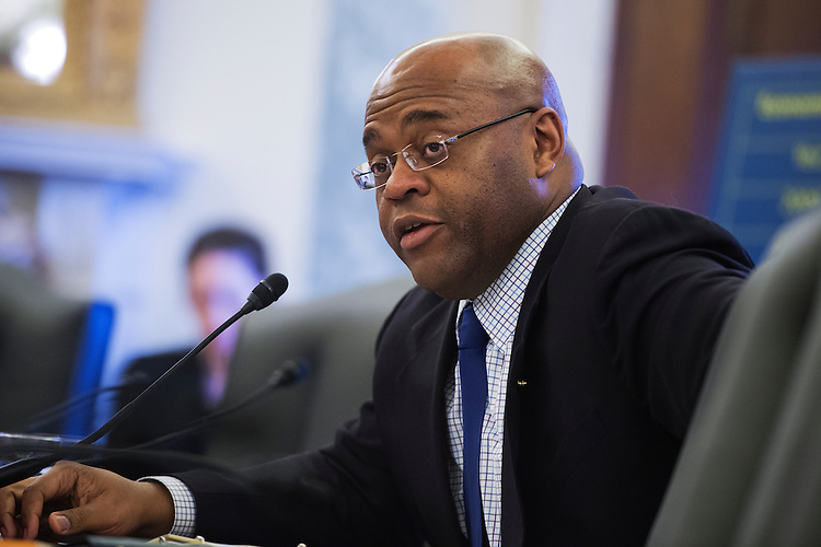 """UNITED STATES - APRIL 17: Sen. William """"Mo"""" Cowan, D-Mass., asks a question during a hearing in Russell Building titled """"The FY2014 Budget Request for the Small Business Administration."""" (Photo By Tom Williams/CQ Roll Call)"""
