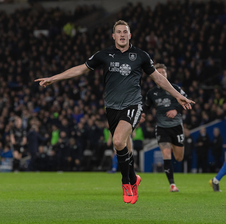 Burnley's Chris Wood celebrates scoring his side's first goal <br /> <br /> Photographer David Horton/CameraSport<br /> <br /> The Premier League - Brighton and Hove Albion v Burnley - Saturday 9th February 2019 - The Amex Stadium - Brighton<br /> <br /> World Copyright &copy; 2019 CameraSport. All rights reserved. 43 Linden Ave. Countesthorpe. Leicester. England. LE8 5PG - Tel: +44 (0) 116 277 4147 - admin@camerasport.com - www.camerasport.com
