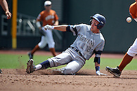 Grant Palmer #27 of the UC Irvine Anteaters slides during Game 1 of the 2014 Men's College World Series between the UC Irvine Anteaters and Texas Longhorns at TD Ameritrade Park on June 14, 2014 in Omaha, Nebraska. (Brace Hemmelgarn/Four Seam Images)