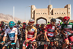 Riders lined up for the start of Stage 5 of the 2018 Tour of Oman running 152km from Sam'il to Jabal Al Akhdhar. 17th February 2018.<br /> Picture: ASO/Muscat Municipality/Kare Dehlie Thorstad | Cyclefile<br /> <br /> <br /> All photos usage must carry mandatory copyright credit (&copy; Cyclefile | ASO/Muscat Municipality/Kare Dehlie Thorstad)