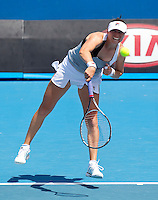 VERA ZVONEREVA (RUS) against ALEXANDRA DULGHERU (RUU) in the first round of the women's Singles. Vera Zvonereva beat Alexandra Dulgheru 7-6 6-7 6-3 ..17/01/2012, 17th January 2012, 17.01.2012..The Australian Open, Melbourne Park, Melbourne,Victoria, Australia.@AMN IMAGES, Frey, Advantage Media Network, 30, Cleveland Street, London, W1T 4JD .Tel - +44 208 947 0100..email - mfrey@advantagemedianet.com..www.amnimages.photoshelter.com.