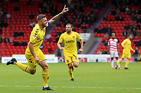 Fleetwood Town's Ashley Eastham celebrates scoring his side's third goal <br /> <br /> Photographer David Shipman/CameraSport<br /> <br /> The EFL Sky Bet League One - Doncaster Rovers v Fleetwood Town - Saturday 6th October 2018 - Keepmoat Stadium - Doncaster<br /> <br /> World Copyright &copy; 2018 CameraSport. All rights reserved. 43 Linden Ave. Countesthorpe. Leicester. England. LE8 5PG - Tel: +44 (0) 116 277 4147 - admin@camerasport.com - www.camerasport.com