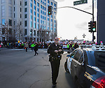 Sergeant Justin Bradley during the Reno Women's March on Washington event on Virginia Street in downtown Reno on Saturday, Jan. 21, 2017.