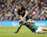 19th November 2016 | IRELAND vs NEW ZEALAND<br /> <br /> Aaron Cruden is tackled by Garry Ringrose during the Autumn Series International clash between Ireland and New Zealand at the Aviva Stadium, Lansdowne Road, Dublin,  Ireland. Photo by John Dickson/DICKSONDIGITAL