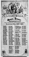 BNPS.co.uk (01202 558833)Pic: HistoryPress/BNPS<br /> <br /> Chapel Street 'Roll of Honour unveiled in 1919.<br /> <br /> 'The Bravest Little Street in England'.<br /> <br /> The remarkable story of a humble street which was described by the king as 'the bravest in England' is told in a new book.<br /> <br /> The inhabitants of Chapel Street in Altrincham, Greater Manchester, displayed an unrivalled devotion of duty when Lord Horatio Kitchener made the rallying call for men to enlist in the First World War.<br /> <br /> From the tight-knit community of just 60 houses, a staggering 161 men volunteered - 81 of them on the first day.<br /> <br /> Tragically, however, 29 men from the street were killed in action, more than from any other street in England.