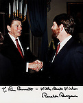 "President Ronald Reagan and Ron Bennett White House, 40th President of the United States Ronald Wilson Reagan, Ronald Reagan was 33rd Governor of California began a career as an actor first in films then television appearing in 52 movie productions served as president of the Screen Actors Guild originally a member of the Democratic Party switched to the Republican Party in 1962, President Reagan implemented sweeping new political and economic initiatives supply-side economic policies dubbed ""Reaganomics"" controlling the money supply to reduce inflation and spurring economic growth by reducing tax rates took a hard line against labor unions and ending of Cold War,"