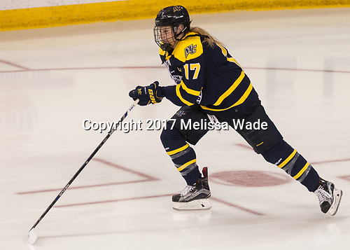 Jessica Bonfe (Merrimack - 17) - The number one seeded Boston College Eagles defeated the eight seeded Merrimack College Warriors 1-0 to sweep their Hockey East quarterfinal series on Friday, February 24, 2017, at Kelley Rink in Conte Forum in Chestnut Hill, Massachusetts.The number one seeded Boston College Eagles defeated the eight seeded Merrimack College Warriors 1-0 to sweep their Hockey East quarterfinal series on Friday, February 24, 2017, at Kelley Rink in Conte Forum in Chestnut Hill, Massachusetts.