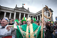 17/3/2011. ST PATRICKS DAY DUBLIN. St Patrick is pictured on College Green marching in the Dublin St Patricks Day Parade. Picture James Horan/Collins Photos