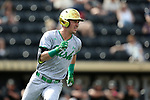 WAKE FOREST, NC - APRIL 15: Notre Dame's Jake Johnson. The Wake Forest Demon Deacons hosted the University of Notre Dame Fighting Irish on April 15, 2017, at David F. Couch Ballpark in Wake Forest, NC in a Division I College Baseball game. Wake Forest won the game 13-7.