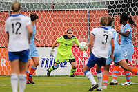 Sky Blue FC goalkeeper Jenni Branam (23). Sky Blue FC and the Boston Breakers played to a 0-0 tie during a Women's Professional Soccer (WPS) match at Yurcak Field in Piscataway, NJ, on June 12, 2011.