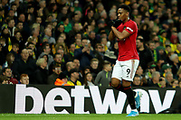 27th Ocotber 2019; Carrow Road, Norwich, Norfolk, England, English Premier League Football, Norwich versus Manchester United; Anthony Martial of Manchester Utd celebrates after he scores for 0-3 in the 73rd minute - Strictly Editorial Use Only. No use with unauthorized audio, video, data, fixture lists, club/league logos or 'live' services. Online in-match use limited to 120 images, no video emulation. No use in betting, games or single club/league/player publications