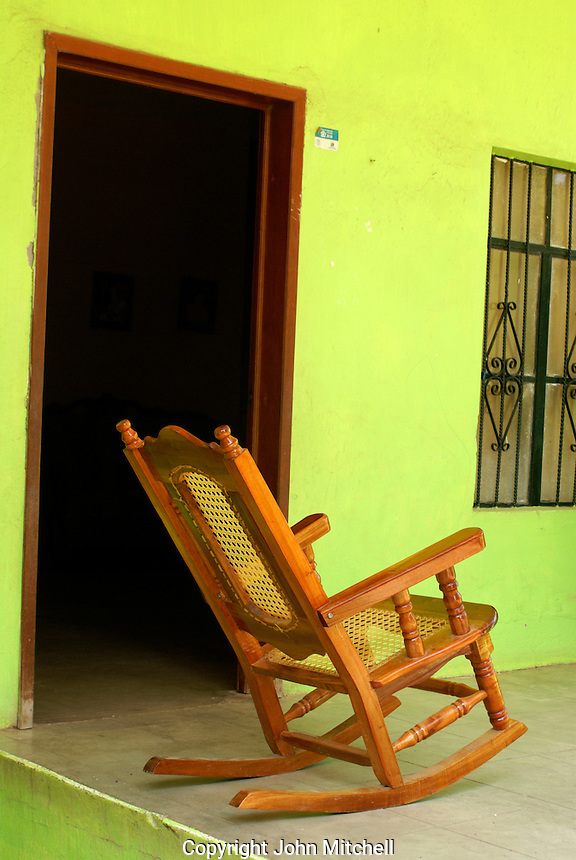 Rocking chair on the porch of a house in the town of El Quelite near  Mazatlan, Sinaloa, Mexico