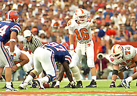 University of Tennessee QB Peyton Manning (16) directs the offense vs. the University of Florida Gators as his Volunteers fell to Florida 62-37 at Florida Field, Gainesville, FL, September 16, 1995. (Photo by Brian Cleary/www.bcpix.com)