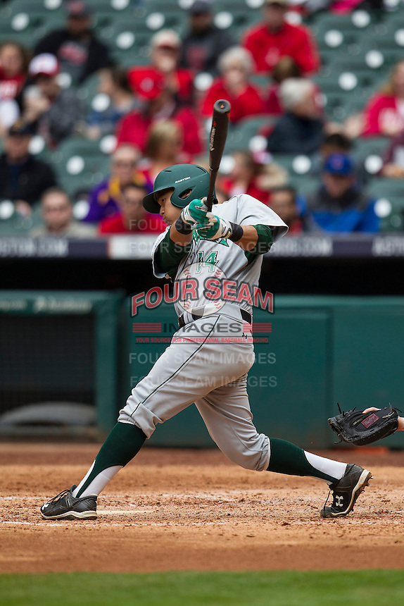 Hawaii Rainbow Warriors second baseman JJ Kitaoka (14) swings the bat during the NCAA baseball game against the Nebraska Cornhuskers on March 7, 2015 at the Houston College Classic held at Minute Maid Park in Houston, Texas. Nebraska defeated Hawaii 4-3. (Andrew Woolley/Four Seam Images)