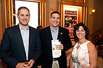 Waterbury, CT- 01 June 2017-060117CM09-  <br /> From left, David Ferraro of Cheshire with David and Pam Rotatori from Ion Bank are photographed during the Palace Theater's Stages Wine Dinnerevent in Waterbury on Thursday.   Christopher Massa Republican-American