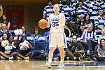 27 January 2013: Duke's Jenna Frush dribbles out the clock at the end of the game. The Duke University Blue Devils played the Boston College Eagles at Cameron Indoor Stadium in Durham, North Carolina in an NCAA Division I Women's Basketball game. Duke won the game 80-56.