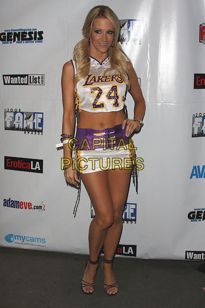 JESSICA DRAKE .2008 FAME Awards aka Fans of Adult Media Entertainment held at the  Los Angeles Convention Center, Los Angeles, California, USA..June 7th, 2008.full length top belly stomach midriff lakers uniform purple white hand on hip 24 bracelets .CAP/ADM/CH.©Charles Harris/AdMedia/Capital Pictures