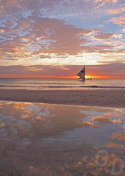 A reflection at sunset, Boracay island Philippines