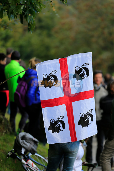 Sardinian flag greets the riders at the top of the 30% gradient climb of Colma di Sormano during the last classic of the season Il Lombardia 2015 running 245km from Bergamo to Como, Italy. 4th October 2015.<br /> Picture: Eoin Clarke | Newsfile