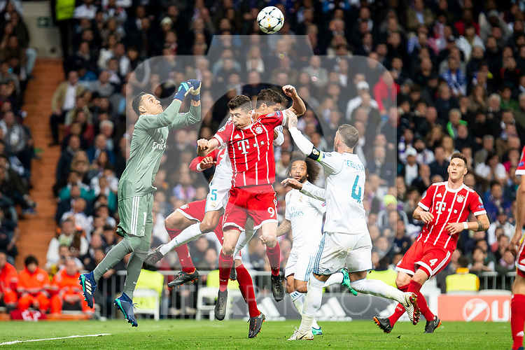 Real Madrid Keylor Navas, Raphael Varane and Sergio Ramos and Bayern Munich Robert Lewandowski during Semi Finals UEFA Champions League match between Real Madrid and Bayern Munich at Santiago Bernabeu Stadium in Madrid, Spain. May 01, 2018. (ALTERPHOTOS/Borja B.Hojas)