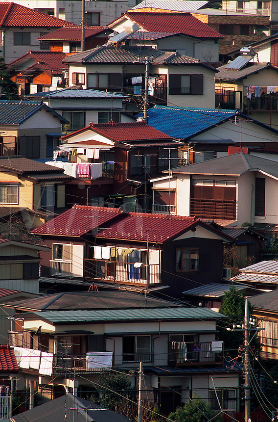 Aerial view of houses in a residential Yokohama neighborhood. Yokohama, Totsuka district, Japan.